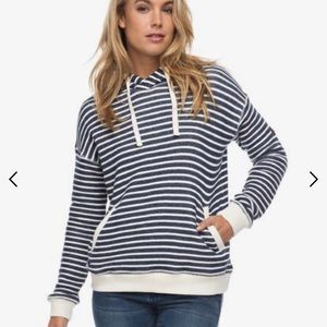 Roxy Shoal blue white striped Hooded sweatshirt xs